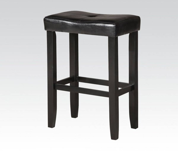 2 Micha Black Wood PU Footrest & Armless Counter Height Stools ACM-96241
