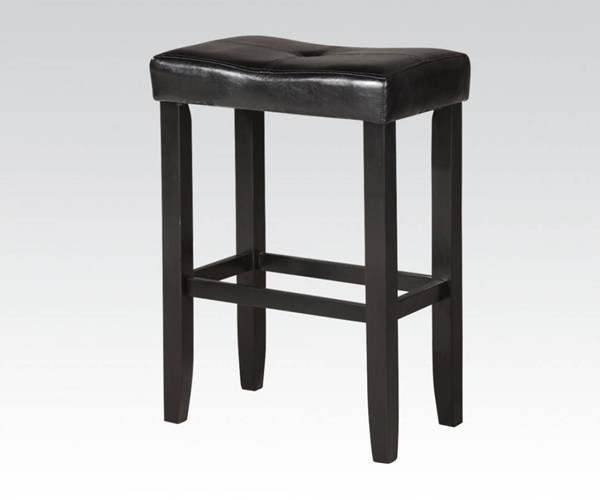 2 Micha Black Wood PU Footrest & Backless Bar Stools ACM-96242