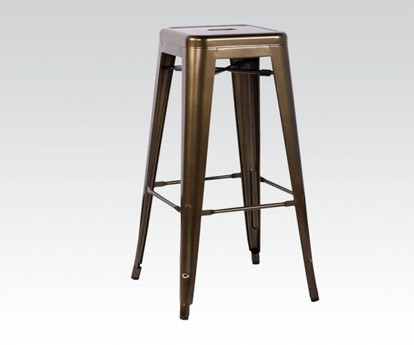 2 Kiara Bronze Steel Stackable Armless & Bakless Bar Stools ACM-96252
