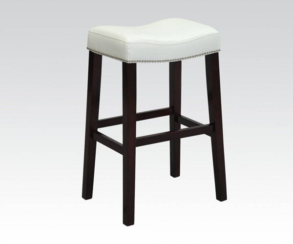 2 Lewis White Espresso PU Wood Bar Stools ACM-96292