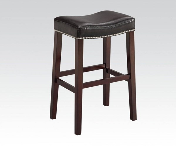 2 Lewis Black Espresso PU Wood Backless Bar Stools ACM-96294