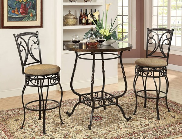 Tavio Black Metal Wood Fabric Bar Table Set ACM-96345-BR