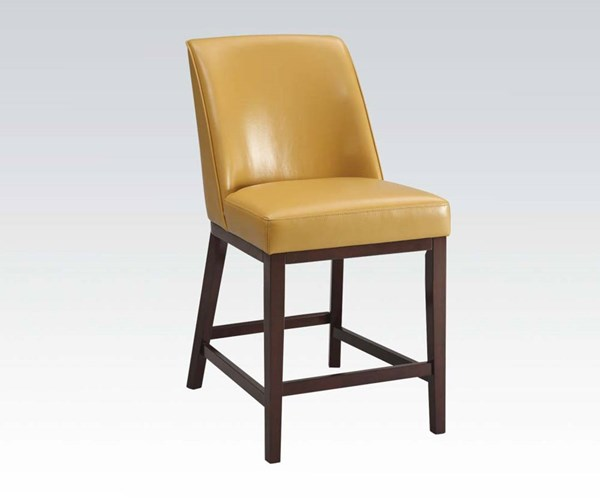 2 Valor Yellow Espresso Wood PU Counter Height Chairs ACM-96355-ST-VAR