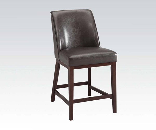 2 Valor Espresso PU Wood Counter Height Chairs ACM-96356