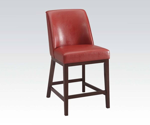 2 Valor Red Espresso PU Wood Counter Height Chairs ACM-96357