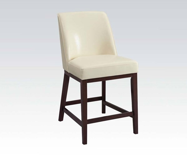 2 Valor Ivory Espresso PU Wood Counter Height Chairs ACM-96358