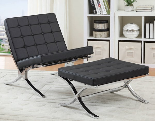 Elian Black Chrome Metal PU Chair & Ottoman Set ACM-96371-72-BNDL