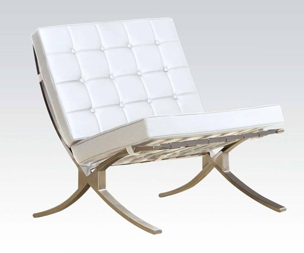 Elian Ivory Chrome Metal Pu Accent Chair The Classy Home