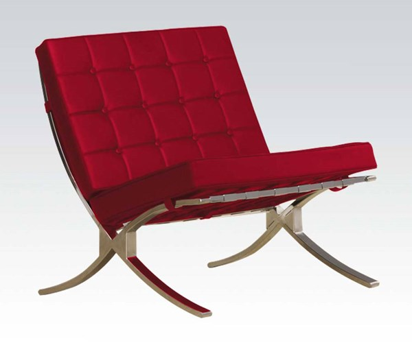 Elian Red Chrome Metal PU Button Tufted Accent Chair ACM-96377
