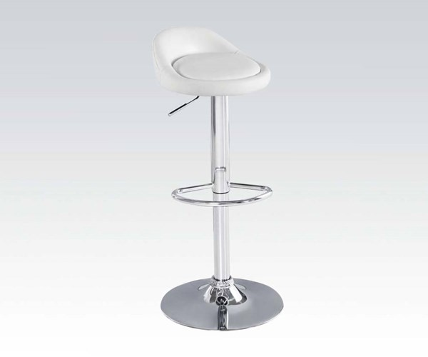 2 Ethan White Chrome PU Metal Swivel Adjustable Stools ACM-96390