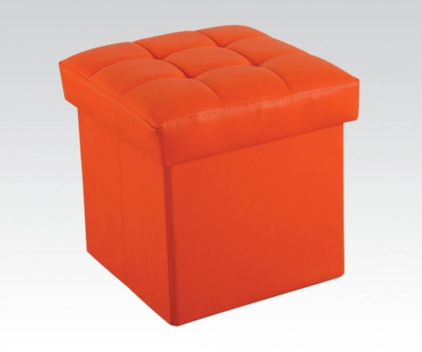 Kori Youth Orange Wood PU Ottoman w/Storage ACM-96408