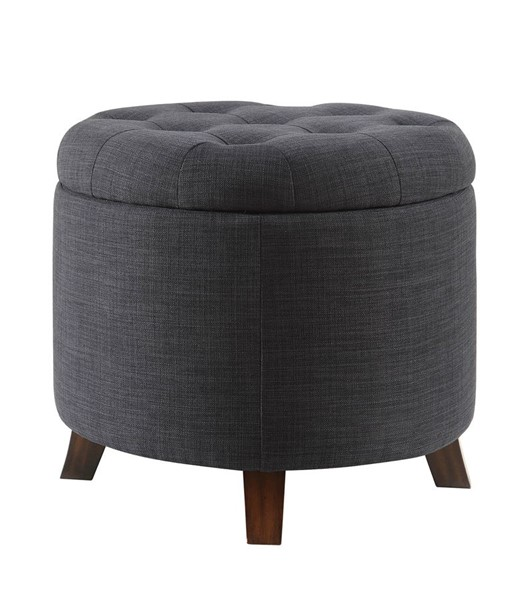 Acme Furniture Kelia Dark Blue Fabric Tufted Ottoman ACM-96436