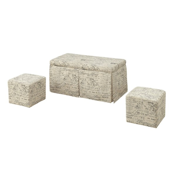 Acme Furniture Delana 3pc Bench and Ottoman Set ACM-96443