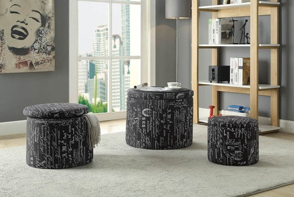 Acme Furniture Rapa Fabric Wood 3pc Ottomans ACM-96445