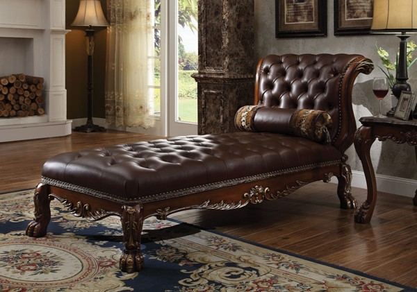 Acme Furniture Dresden Cherry Oak Chaise with Pillow ACM-96487