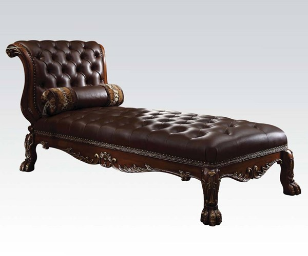 Dresden Cherry Gold Wood Armless Chaise W/1 Pillow ACM-96487-89-VAR
