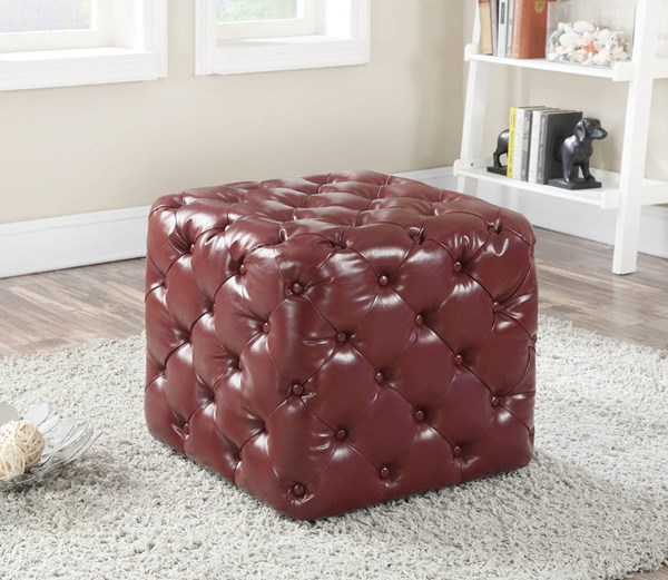 Norris Burgundy Espresso PU Padded Button Tufted Ottomans ACM-96500-OT-VAR
