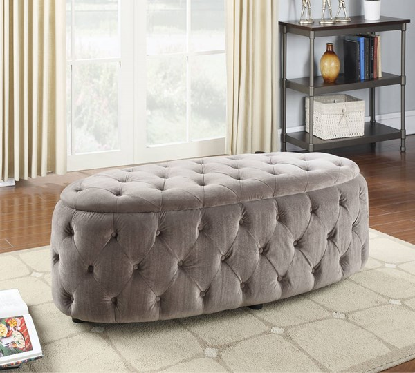 Maddy Gray Fabric Plastic Padded Button Tufted Bench ACM-96507
