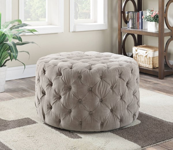 Maddy Beige Fabric Plastic Padded Button Tufted Bench ACM-96509
