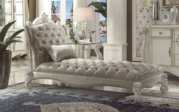 Versailles Traditional Gray White Brown PU Wood Chaises w/1 Pillow ACM-96542-CHSE-VAR