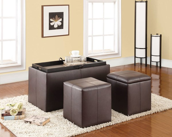 Elias Espresso PU 3pc Pack Storage Bench & Ottomans ACM-96647
