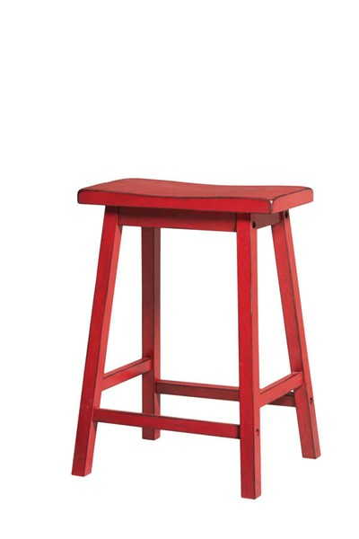 2 Acme Furniture Gaucho Antique Red Counter Height Stools ACM-96649