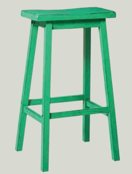2 Gaucho Casual Antique Green Rubberwood Bar Stools ACM-96652