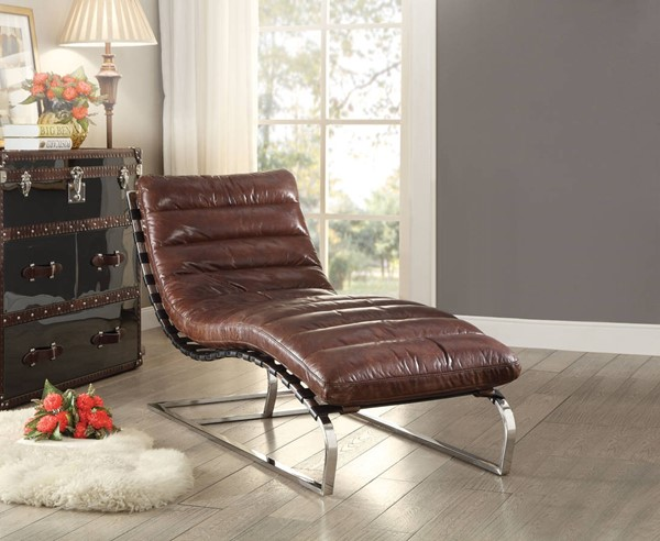 Qortini Classic Vintage Brown Top Grain Leather Stainless Steel Chaise ACM-96670