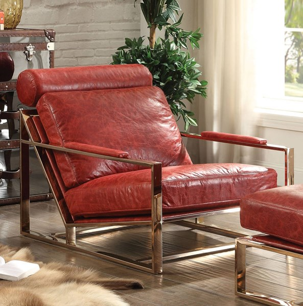 Quinto Antique Red Top Grain Leather Stainless Steel Accent Chair ACM-96672