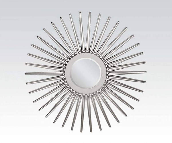 Ern Silver Glass Frameless Round Accent Mirror ACM-97054