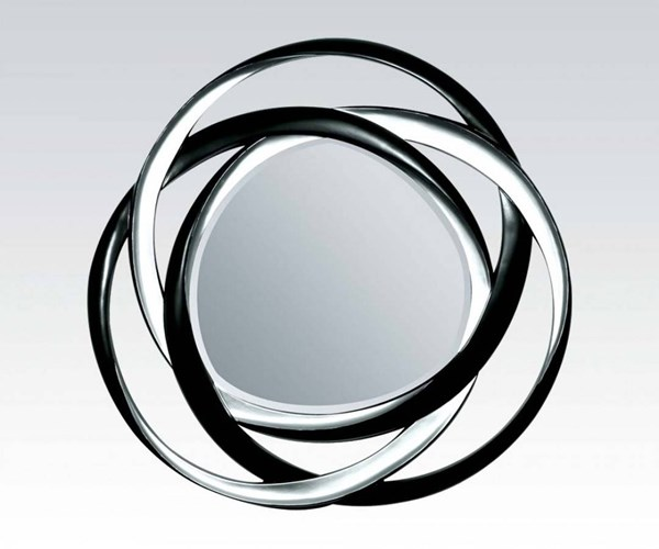 Eva Black Silver Glass Round Accent Mirror ACM-97056