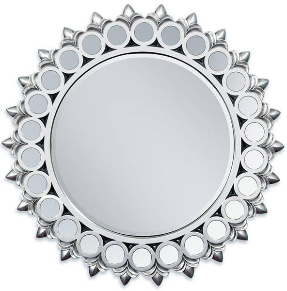 Flo Silver Glass Round Accent Mirror w/Frame ACM-97057