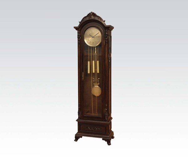 Bengali Dark Walnut Wood Glass Grandfather Clock ACM-97079