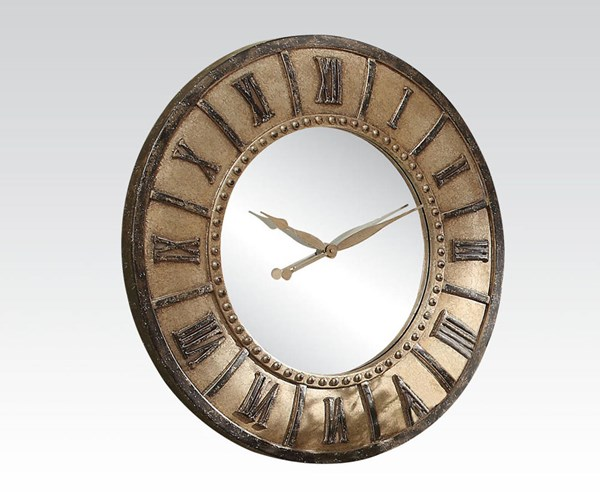 Holea Silver Gold Wall Clock w/Roman Numbers ACM-97093