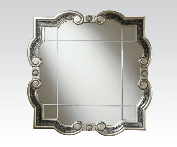 Blyss Silver Gray Glass Curved Accent Mirror ACM-97098