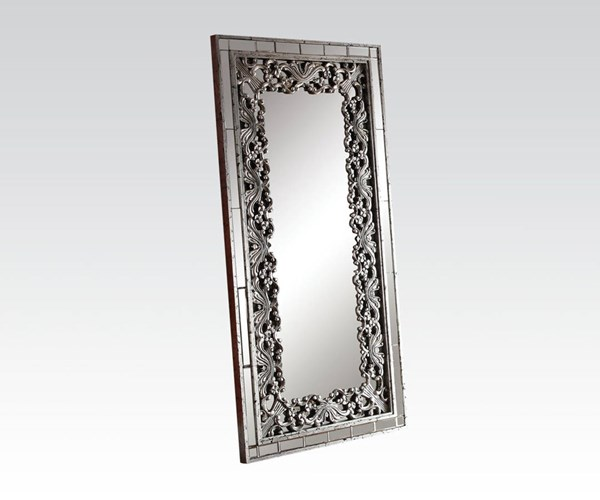 Vern Silver Black Glass Rectangle Accent Mirror ACM-97106
