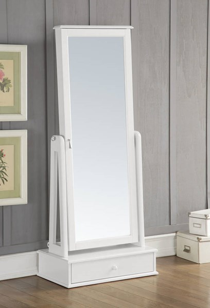Traci White Solid Wood Glass Jewelry Armoire w/Drawer ACM-97116