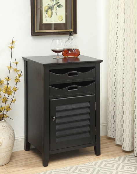 Holland Gray Black Cherry Wood Wine Cabinets w/2 Drawers & Door ACM-9713-WR-VAR