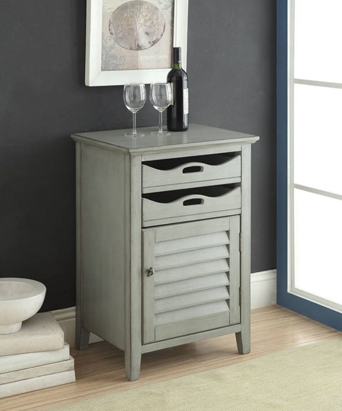 Holland Antique Gray Wood Wine Cabinet w/2 Drawers & Door ACM-97132