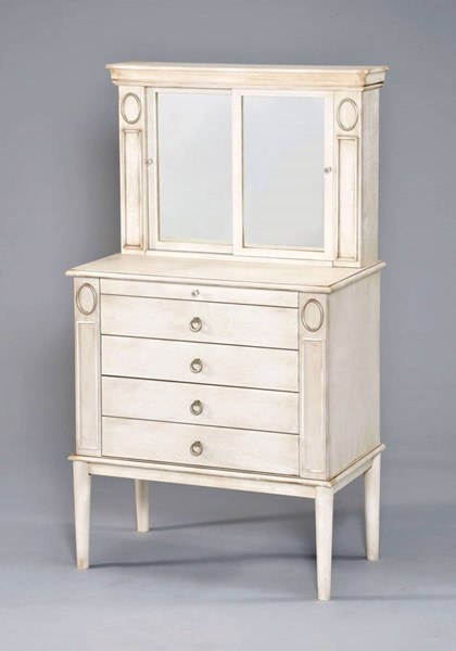 Leven Antique White Wood Jewelry Armoire ACM-97220