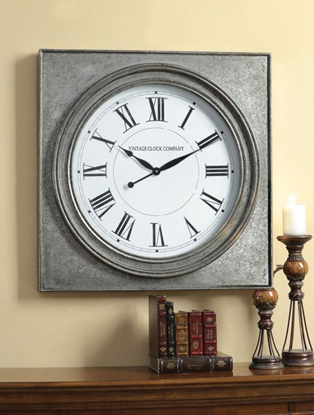 Karson Antique Gray PU Wood Roman Numbers Wall Clock ACM-97227