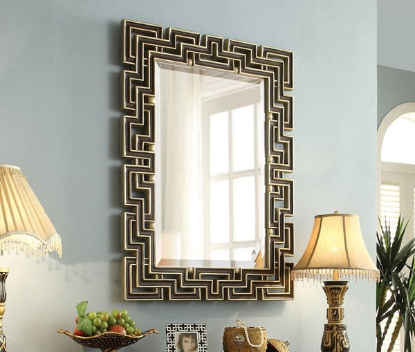 Shiloh Bronze Wood Glass Wall Accent Mirror ACM-97228