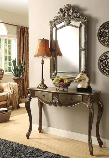 Kelsey Bronze Taupe Wood 2 Drawers Console Table ACM-97233