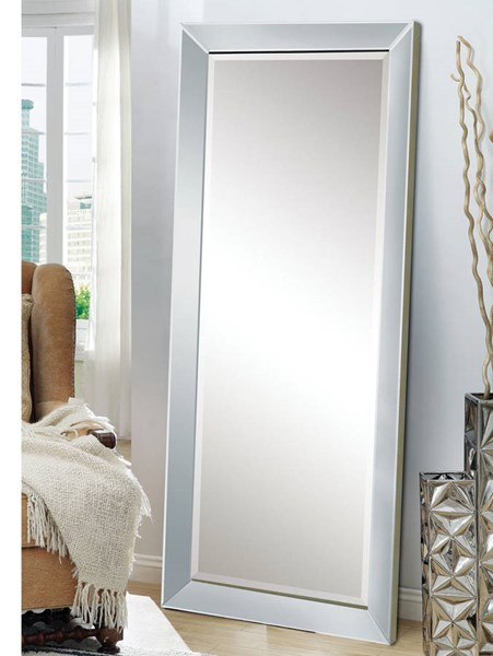 Lena Silver Wood Glass Floor Accent Mirror ACM-97234