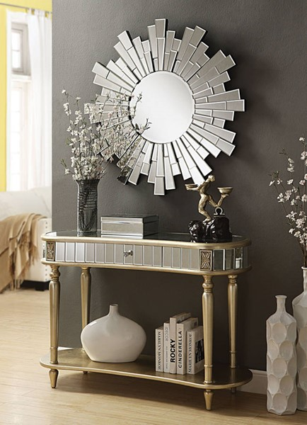 Kaya Champagne Wood Glass Console & Mirror ACM-97238-39-OCT-S