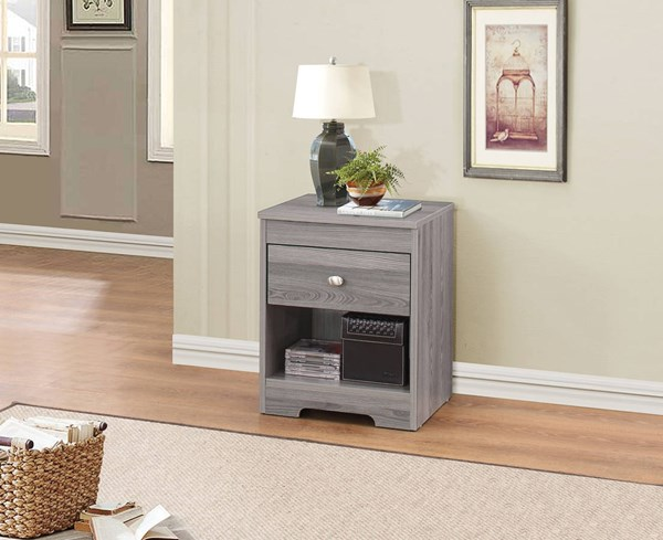 Tashia Gray Oak PU MDF Nightstand ACM-97240