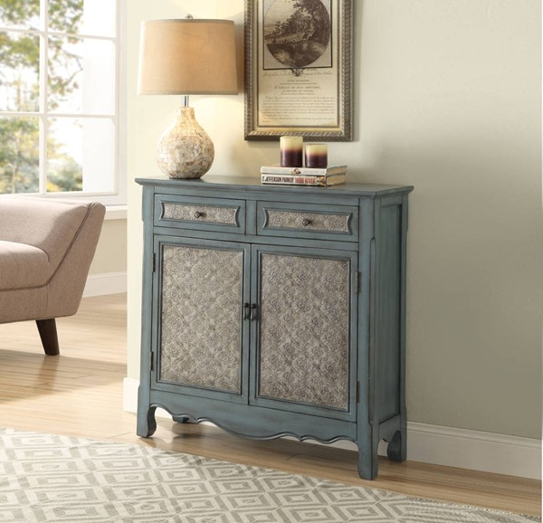 Winchell Antique Blue Wood MDF 2 Drawers & 2 Doors Console Table ACM-97245
