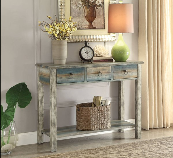 Glancio Antique White Teal Wood MDF Console Table ACM-97257