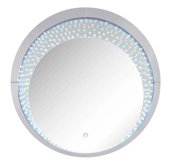Acme Furniture Nysa Clear Glass Faux Crystal Round LED Wall Decor ACM-97590