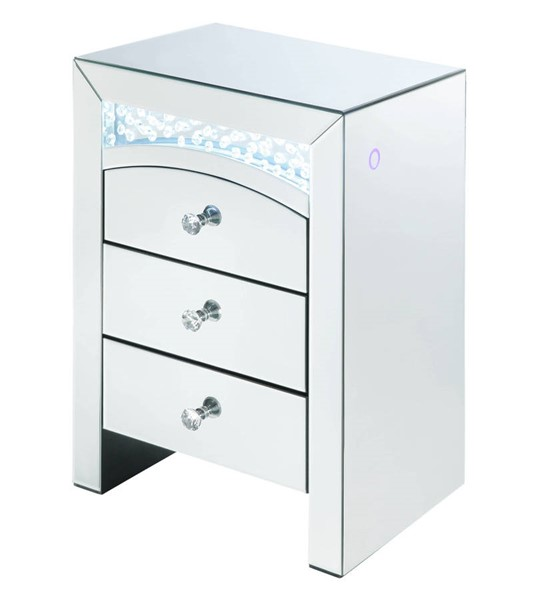 Acme Furniture Nysa Clear Mirror Faux Crystal LED Night Table ACM-97655